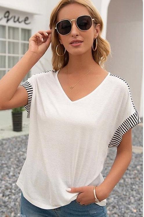 White Stripe Short Sleeve