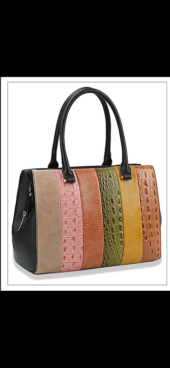 Multi Stripe Embossed Handbag