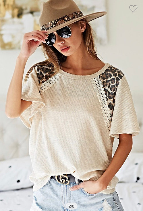 Oatmeal Leopard Short Sleeve