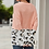 Thumbnail: Coral Cable-knit Sweater with Leopard