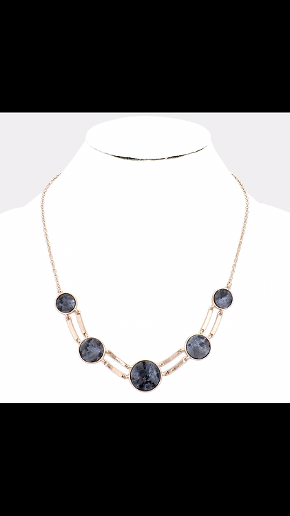 Stone Small Statement Necklace - Black