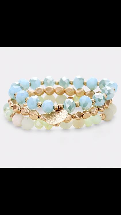 Beaded Bracelet Set - Teal