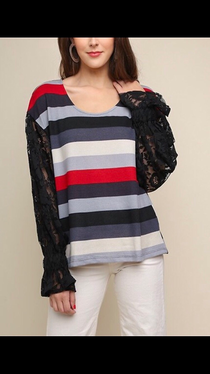 Black Lace Stripe Long Sleeve