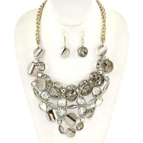 Large Gray Bead Statement Necklace