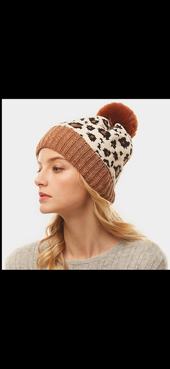 Tan Ivory Leopard Poof Beanie
