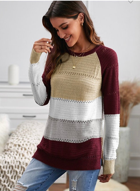 Wine Colorblock Light Sweater