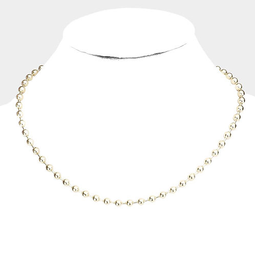 Metal Ball Necklace - Gold