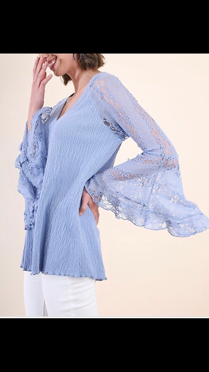 Periwinkle Lace Sleeve Blouse