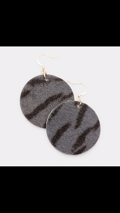 Faux Suede Dangle - Gray Animal