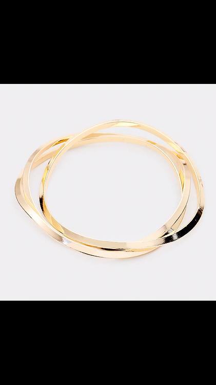Thin Metal Bangle Set - Gold