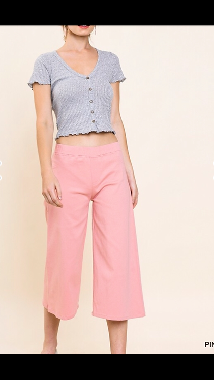 Cropped Flare Pant - Pink