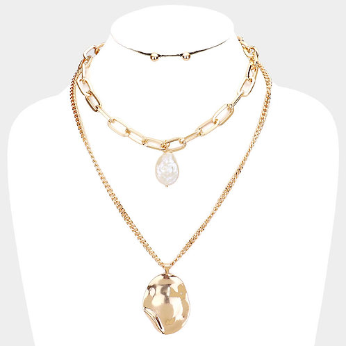 Layered Pearl Metal Necklace - Gold