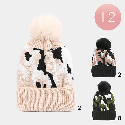 Camo Knit Hat - Assorted