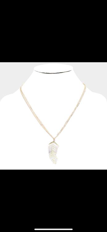 Silver Gold Leaf Necklace