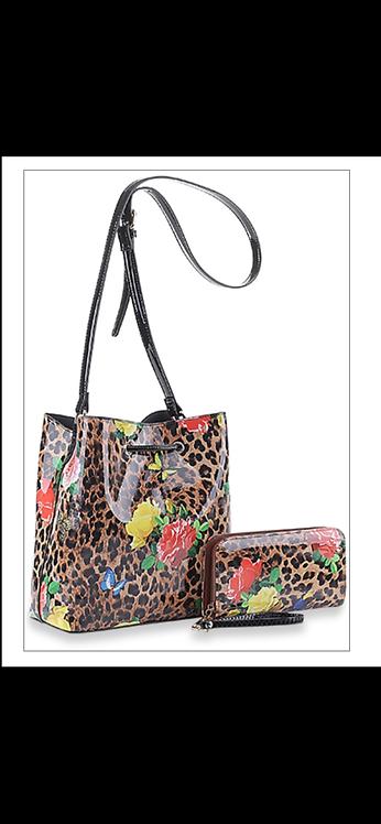 Leopard Floral Handbag Set