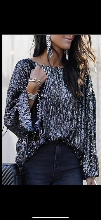 Black Sequin Long Sleeve