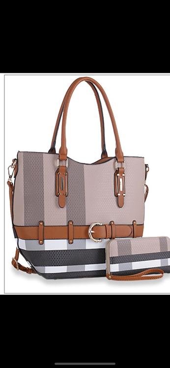 Plaid Belted Handbag Set
