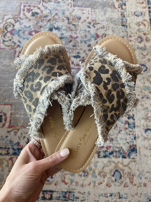 Leopard Fringe Slide Sandal