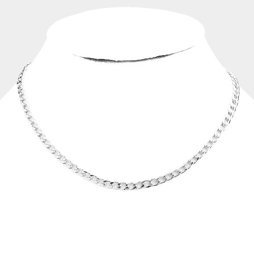 Single Chain Link Necklace - Silver