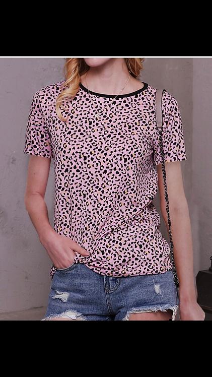 Pink Leopard Short Sleeve