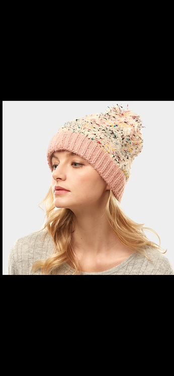 Speckled Confetti Poof Hat - Pink