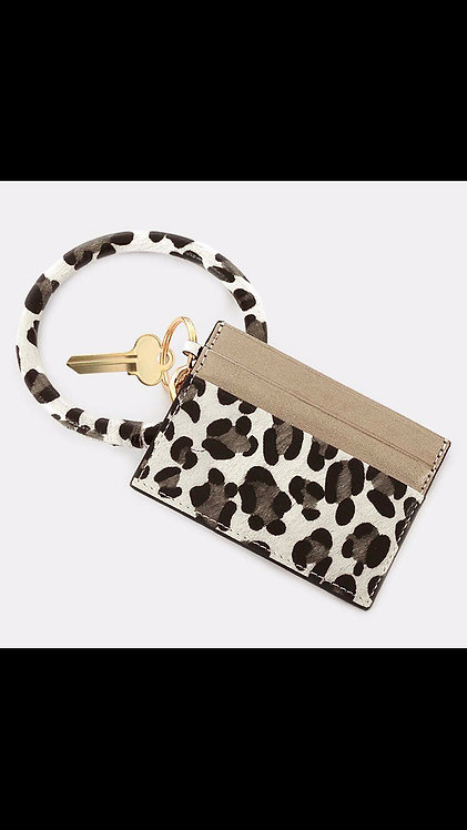 Key Ring Card Holder - Gray Leopard