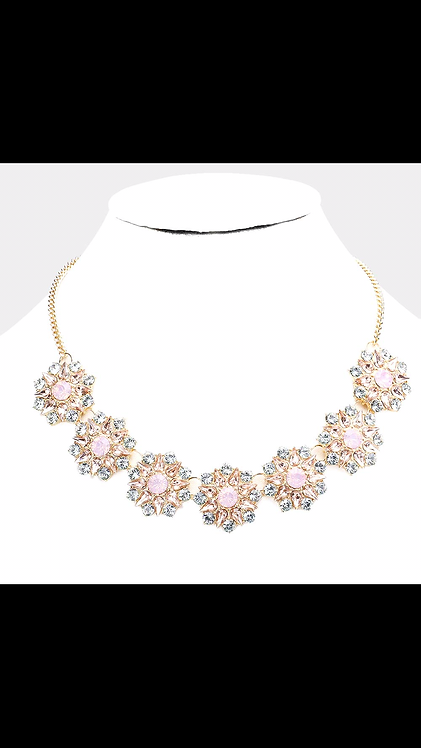 Thick Stone Floral Necklace - Pink