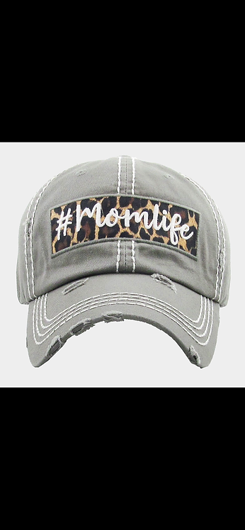 Mom Life Leopard Hat - Gray