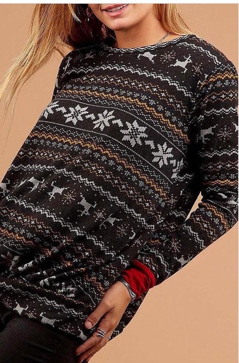 Holiday Print Bubble Sweatshirt