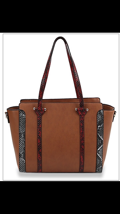 Snake Detail Handbag - Brown