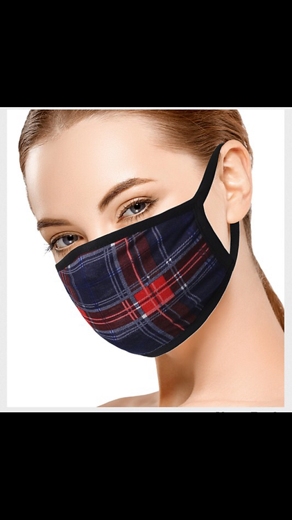 Plaid Pattern Mask - Blue