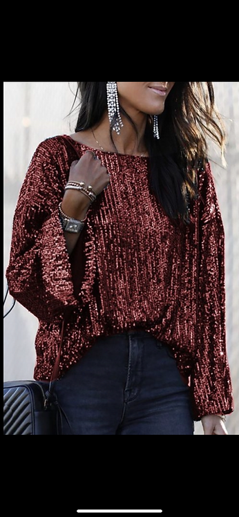 Red Sequin Long Sleeve
