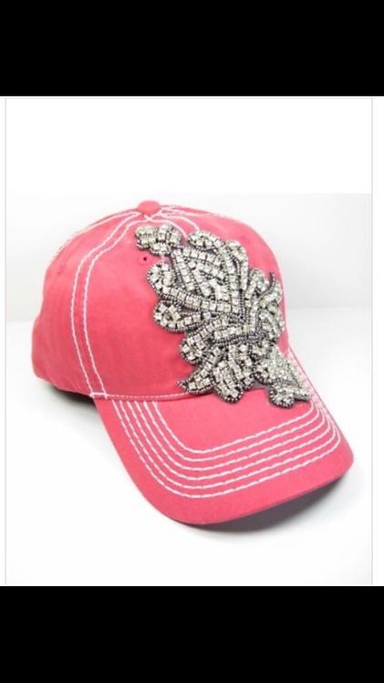 Rhinestone Emblem Baseball Hat - Fuchsia