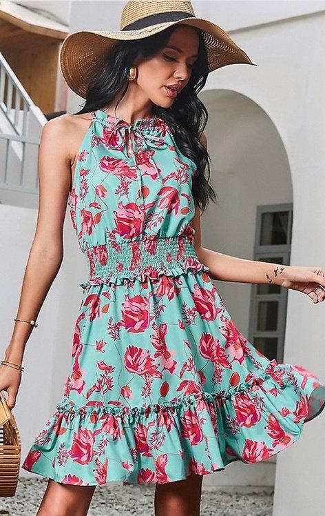 Teal Floral Halter Dress