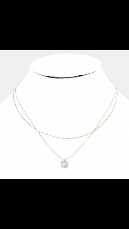 Small Pendant Layered Necklace - White