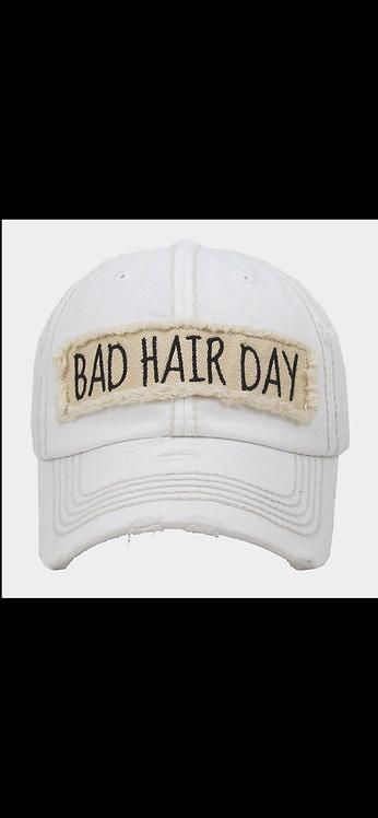 Bad Hair Day Baseball Hat - White