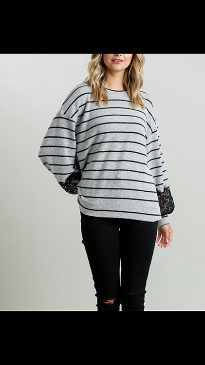 Stripe Sweater with Lace Sleeve