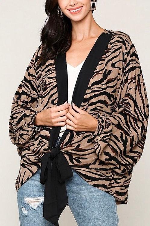Tiger Print Open Kimono