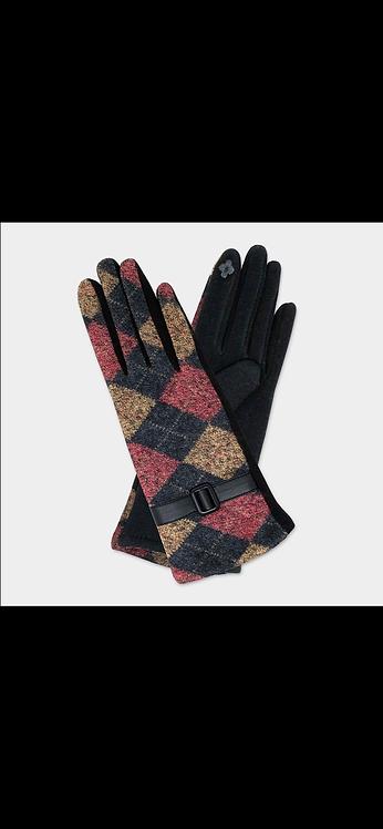 Plaid Buckle Glove - Maroon