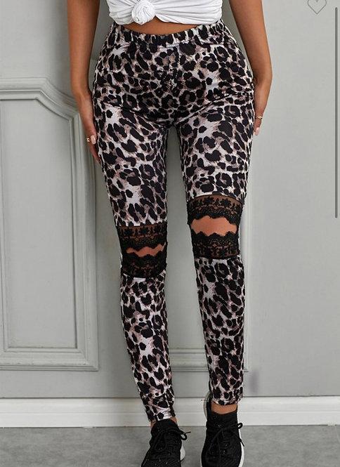 Lace Knee Leopard Leggings