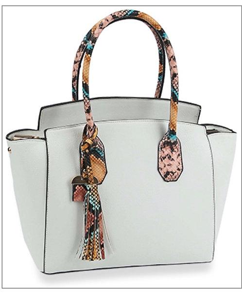 White Snake Trim Handbag