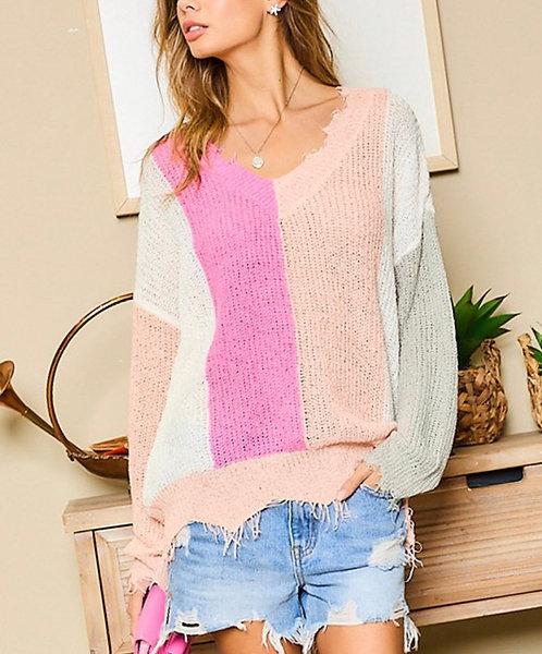 Frayed Colorblock Sweater