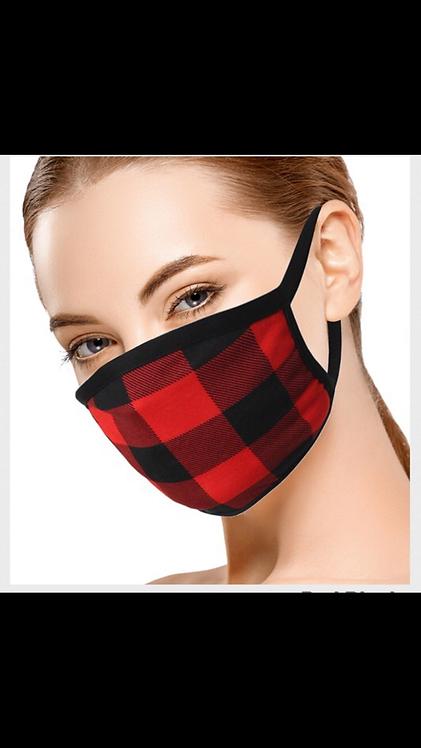 Plaid Pattern Mask - Red