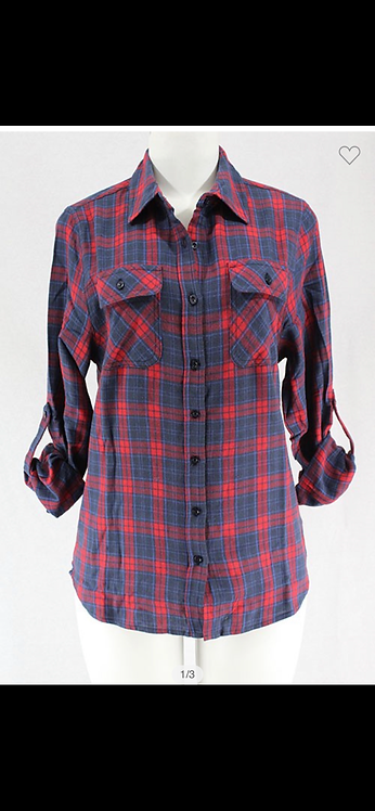 Plaid Button Down - Red / Navy