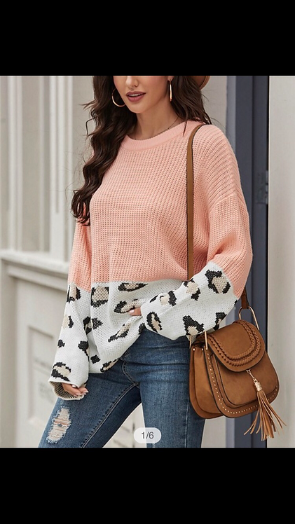 Coral Cable-knit Sweater with Leopard