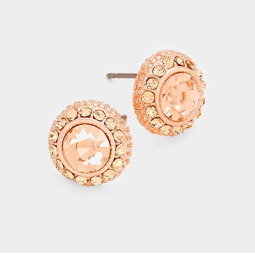 Rhinestone Circle Studs - Rose Gold