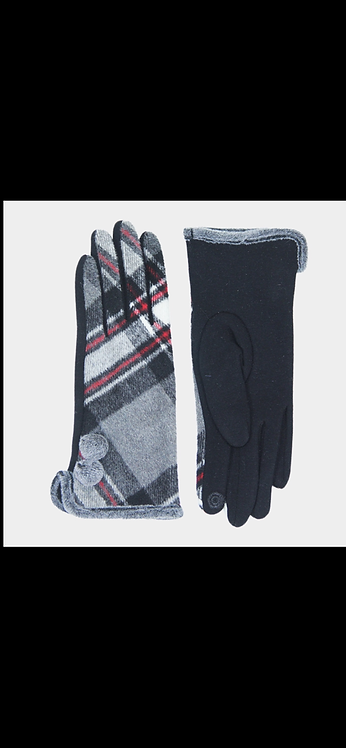 Plaid Poof Button Glove - Gray Red