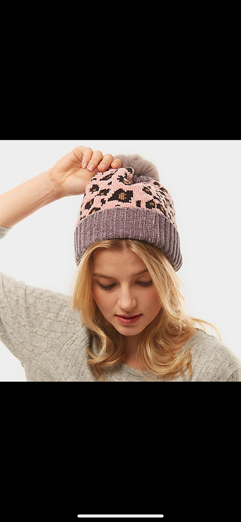 Pink Gray Leopard Poof Beanie
