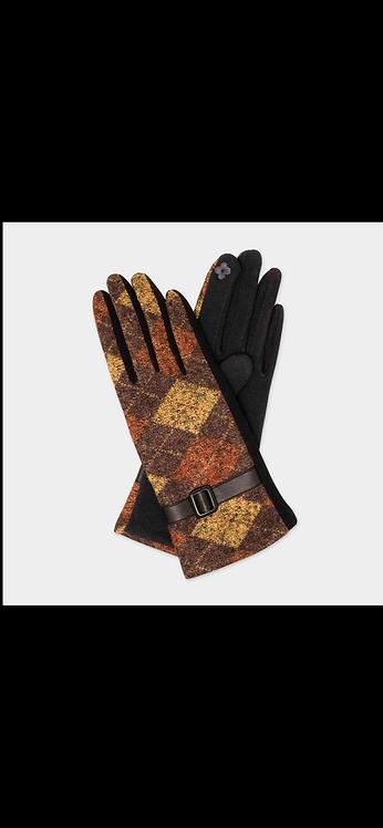 Plaid Buckle Glove - Brown