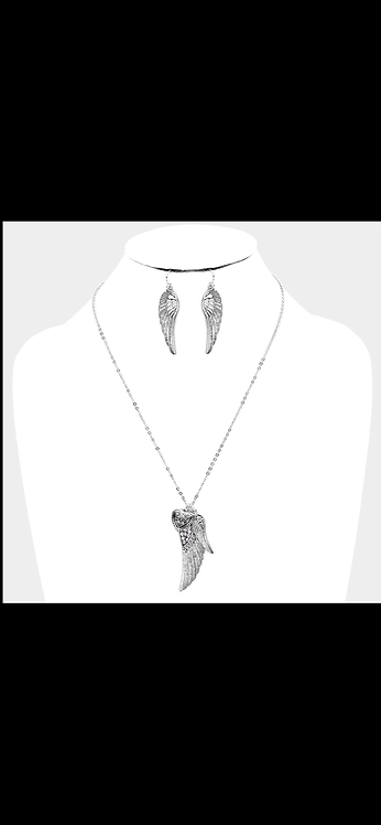 Angel Wing Heart Necklace - Antique Silver